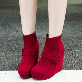 Ericdress Amazing Buckle Wedge Heel Ankle Boots
