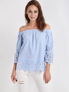 Ericdress Blue Slash Neck Blouse