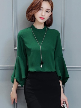 Ericdress Flare Sleeve Plain Chiffon Blouse