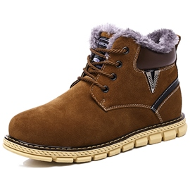 Ericdress Suede Lace up Antiskid Men's Snow Boots