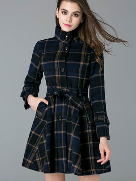 Ericdress Slim Wave Cut Single-Breasted Plaid Coat