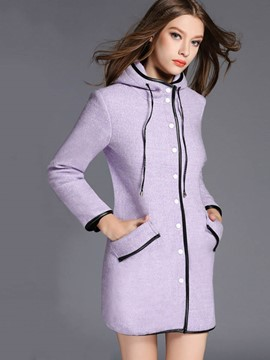 Ericdress Single-Breasted Color Block Hooded Coat