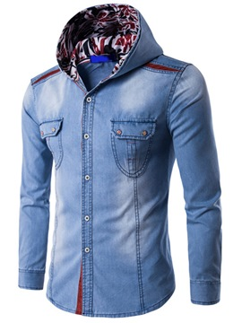 Ericdress Long Sleeve Hood Denim Casual Men's Shirt