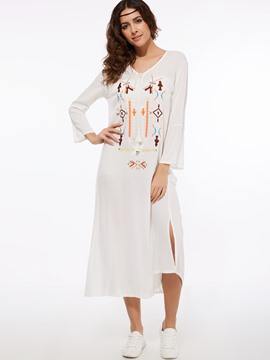 Ericdress Bohemian Lace-Up Embroidery Maxi Dress