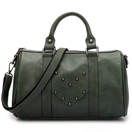 Ericdress Vintage Rivets Thread Boston Handbag