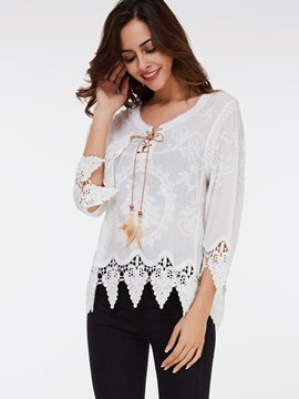 Ericdress Lace Crochet White Blouse