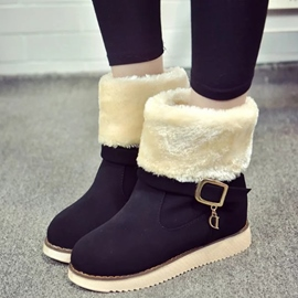 Ericdress Suede Warm Fur Snow Boots