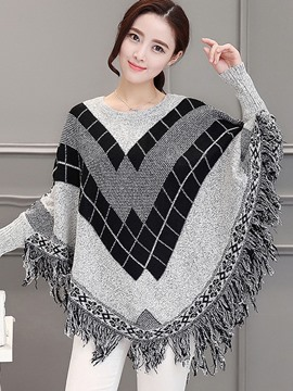 Ericdress Plaid Tassel Cape