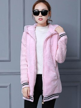 Ericdress Straight Knit Patchwork Printed Coat