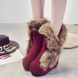 Ericdress Amazing Furry Wedge Heel Ankle Boots