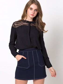 Ericdress Lace Crochet Plain Blouse