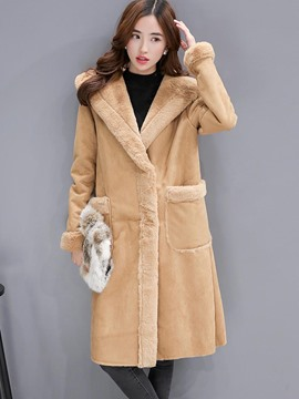 Ericdress Solid Color Loose Fleece Hooded Coat