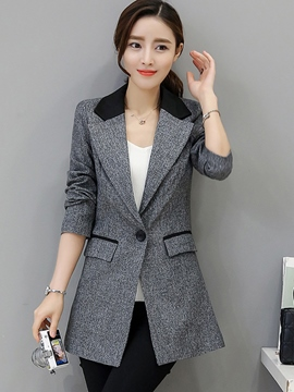 Ericdress Slim Color Block One-Button Polo Blazer
