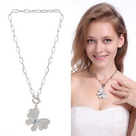 Ericdress Splendid Crystal Butterfly Pendant Necklace