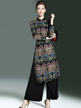 Ericdress Vintage Print Wide Legs Pants Suit