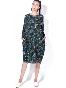Ericdress Round Collar Floral Print Loose Knee-Length Casual Dress