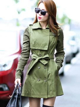 Ericdress Solid Color Slim Patchwork Trench Coat