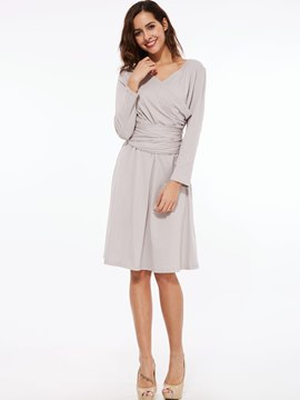 Ericdress Back Bowknot Lace-Up Cross Pleated High-Waist Knee-Length Casual Dress