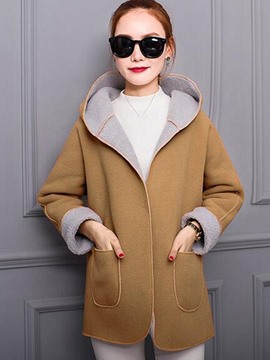 Ericdress Color Block Pocket Loose Hooded Coat