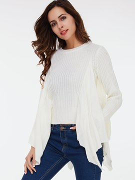 Ericdress Falbala Trim Plain Knitwear
