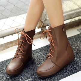 Ericdress Unique Round Toe Lace up Ankle Boots