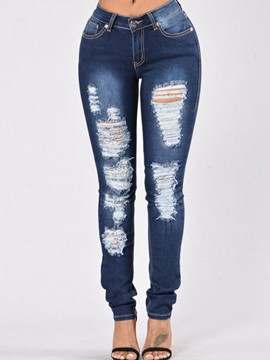 Ericdress Worn Holes Washable Low-Waist Skinny Jeans