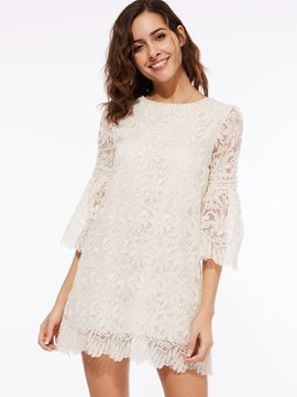 Ericdress See-Through Round Neck Lace Dress