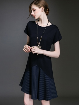 Ericdress Patchwork Asymmetrical Pleated Casual Dress