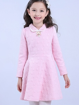 Ericdres Bow Pattern Doll Collar Long Sleeve Girls Dress