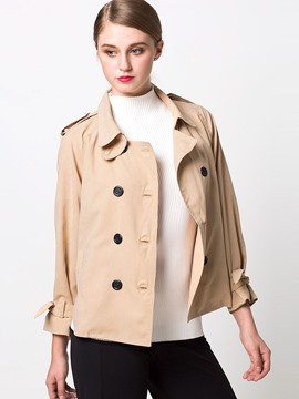 Ericdress Solid Color Turn Down Double-Breasted Jacket