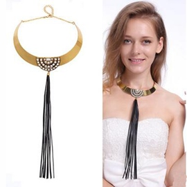 Ericdress Black Tassel Pendant Alloy Necklace
