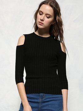 Ericdress Cold Shoulder Pullover Knitwear