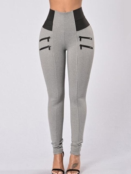 Ericdress Color Block Zipper High-Waist Skinny Pencil Pants