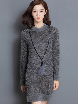 Ericdress Furry Round Collar Patchwork Slim Casual Dress