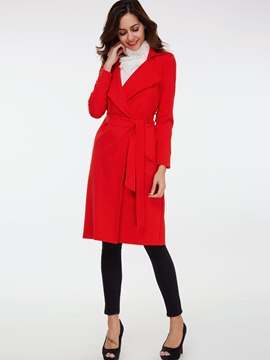 Ericdress Slim Lace-Up Plain Coat