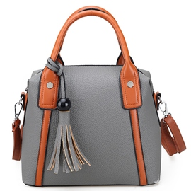 Casual Solid Color Tassel Shell Handbag
