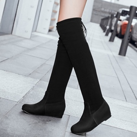 Ericdress Suede Back Lace up Elevator Heel Thigh High Boots