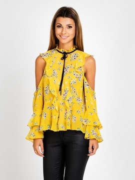 Ericdress Open Shoulder Floral Print Peplum Blouse