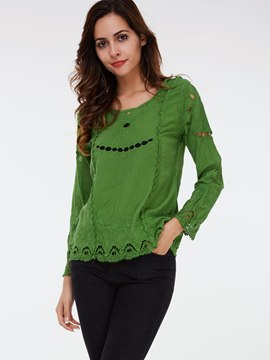 Ericdress Embroidery Hollow Casual Knitwear