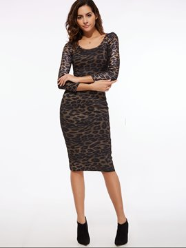 Ericdress Leopard Scoop Knee-Length Sheath Dress