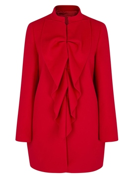 Ericdress Solid Color Stand Collar Pleated Frill Coat