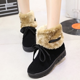 Ericdress Sweet Furry Lace up Snow Boots