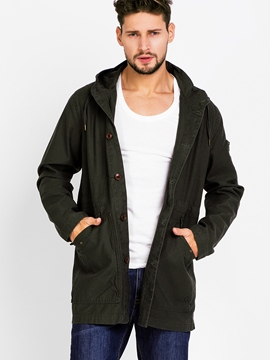 Ericdress Casual Big Pocket with Hood Men's Trench Coat