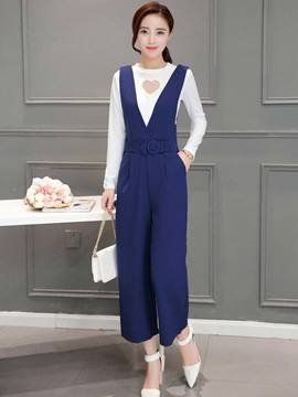 Ericdress Long Sleeve Wide Legs Pants Suit