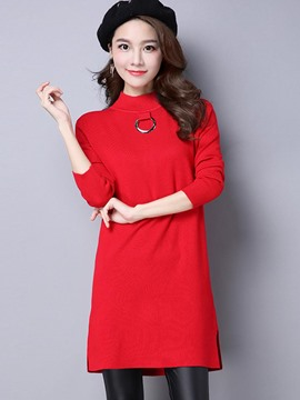 Ericdress Solid Color Ring Detail Knitwear