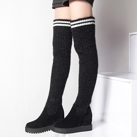 Ericdress Kintting Patchwork Elevator Heel Thigh High Boots