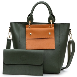 Ericdress Color Block PU Handbags(2 Bags)
