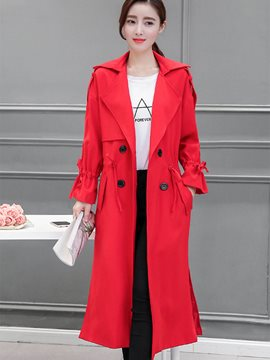 Ericdress Solid Color Loose Buttons Lace-Up Trench Coat
