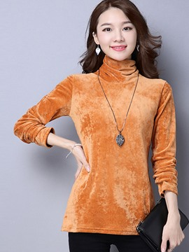 Ericdress Loose Solid Color Turtleneck T-Shirt