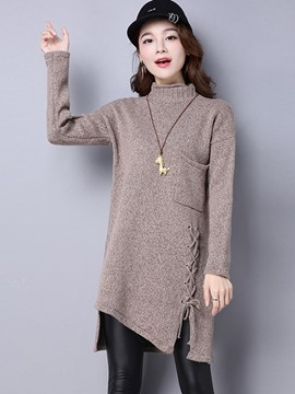 Ericdress Pocket Solid Color Asymmetric Knitwear